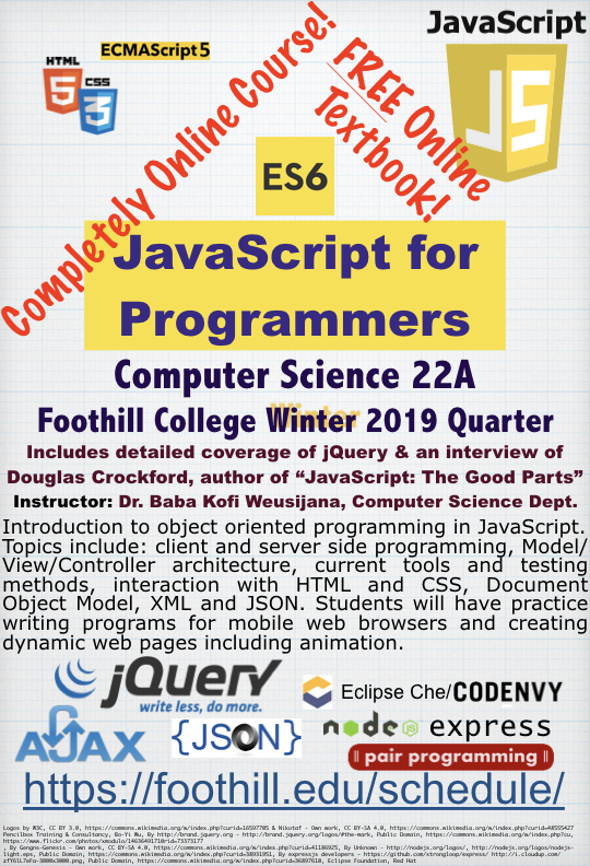 CS22A JavaScript for Programmers, Summer 2019 Flier
