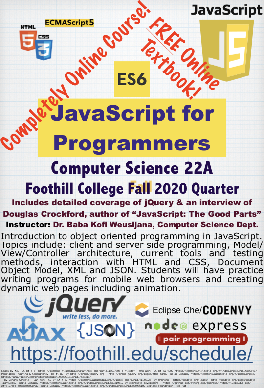 CS22A JavaScript for Programmers Flier